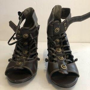 Womens Demonia Open-toe Sandal Heels Brown Size 8